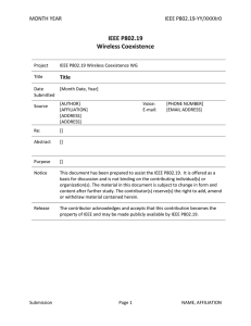IEEE P802.19 Wireless Coexistence MONTH YEAR IEEE P802.19-YY/XXXXr0