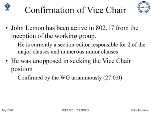 Confirmation of Vice Chair