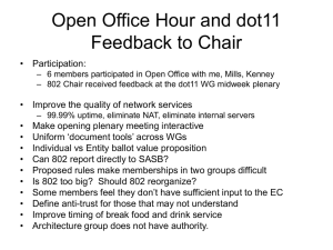 Open Office Hour and dot11 Feedback to Chair • Participation: