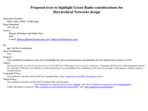 Proposed texts to highlight Green Radio considerations for Hierarchical Networks design