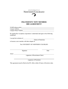 FRATERNITY NEW MEMBER BID AGREEMENT