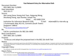 Fast Network Entry for Alternative Path Document Number: IEEE S802.16n-11/0095 Date Submitted: