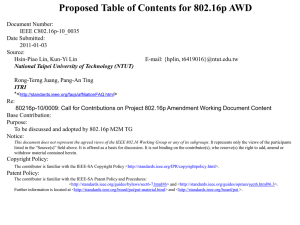 Proposed Table of Contents for 802.16p AWD