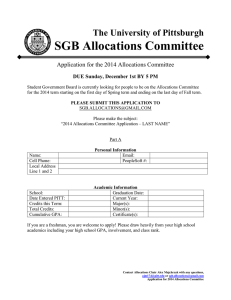 SGB Allocations Committee The University of Pittsburgh