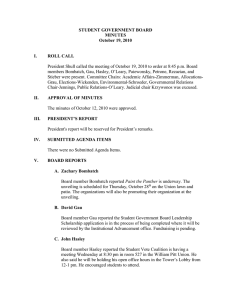 STUDENT GOVERNMENT BOARD MINUTES October 19, 2010