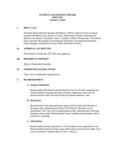 STUDENT GOVERNMENT BOARD MINUTES October 5, 2010