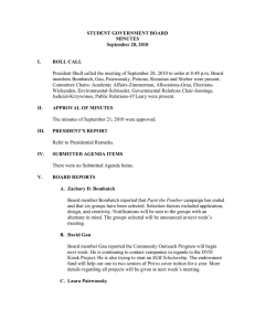 STUDENT GOVERNMENT BOARD MINUTES September 28, 2010