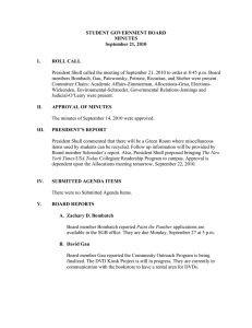 STUDENT GOVERNMENT BOARD MINUTES September 21, 2010