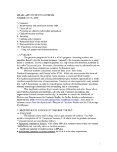 GRADUATE STUDENT HANDBOOK Updated May 16, 2006  1. Overview