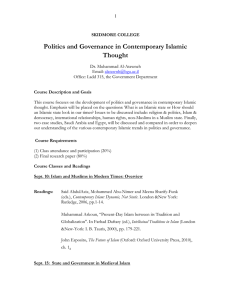 Politics and Governance in Contemporary Islamic Thought