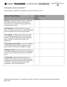 Thinking like a Historian checklist* Historical Thinking Strategy Strategy Findings