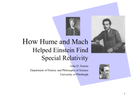 How Hume and Mach Helped Einstein Find Special Relativity