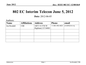 802 EC Interim Telecon June 5, 2012 Date: Authors: Name