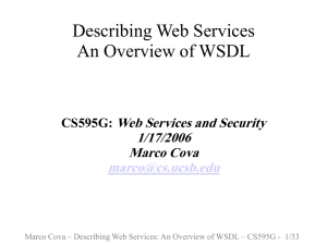 Describing Web Services An Overview of WSDL Web Services and Security 1/17/2006