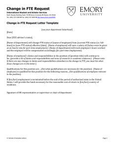 Change in FTE Request Change in FTE Request Letter Template