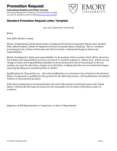 Promotion Request Standard Promotion Request Letter Template