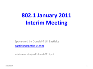 802.1 January 2011 Interim Meeting Sponsored by Donald & Jill Eastlake