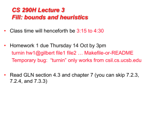 CS 290H Lecture 3 Fill: bounds and heuristics