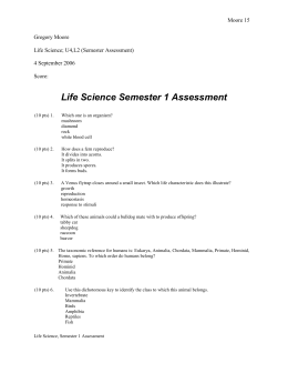 Life Science Semester 1 Assessment Moore 15 Gregory Moore