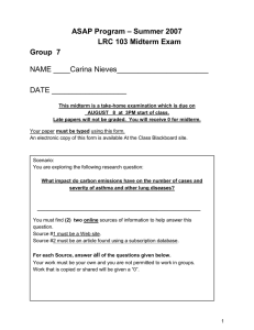 – Summer 2007 ASAP Program  LRC 103 Midterm Exam