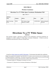 Directions To a TV White Space Coexistence Mechanisms PAR IEEE P802.19