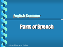 Parts of Speech English Grammar © Capital Community College