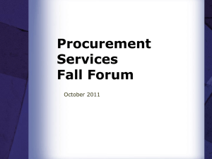 Procurement Services Fall Forum October 2011