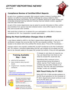 EFFORT REPORTING NEWS!  Compliance Review of Certified Effort Reports