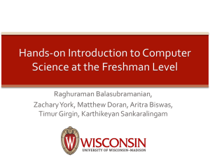 Hands-on Introduction to Computer Science at the Freshman Level