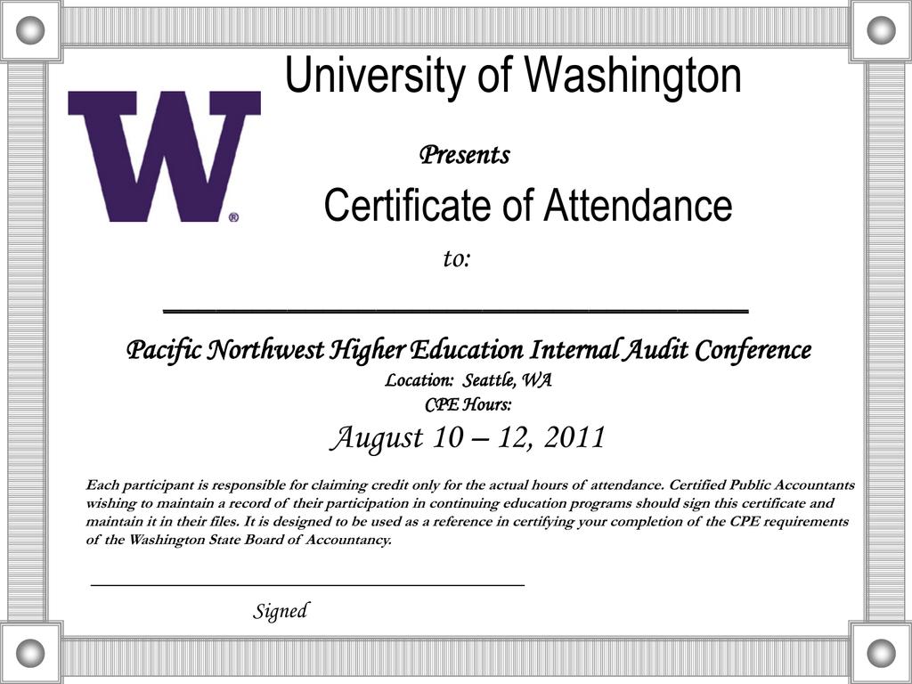 certificate attendance university washington presents cpe powerpoint audit education august hours seattle