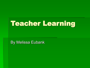 Teacher Learning By Melissa Eubank