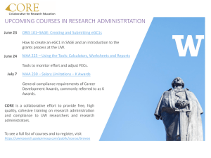 UPCOMING COURSES IN RESEARCH ADMINISTRTATION