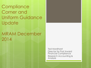 Compliance Corner and Uniform Guidance Update