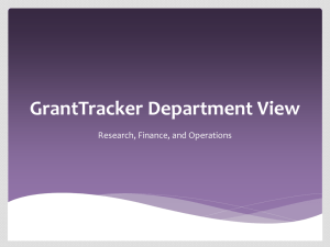 GrantTracker Department View Research, Finance, and Operations