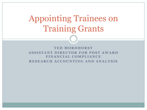 Appointing Trainees on Training Grants