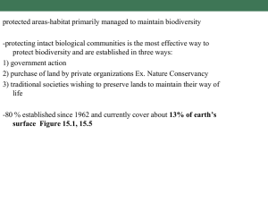 protected areas-habitat primarily managed to maintain biodiversity