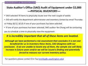 State Auditor's Office (SAO) Audit of Equipment under $2,000 —PHYSICAL INVENTORY—