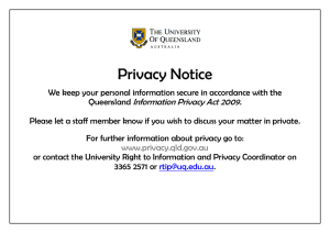 Privacy Notice Information Privacy Act 2009.