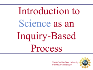Introduction to as an Inquiry-Based Process