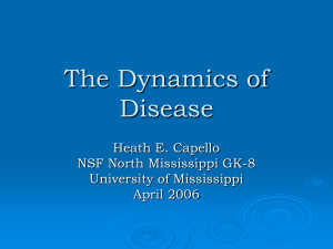 The Dynamics of Disease Heath E. Capello NSF North Mississippi GK-8