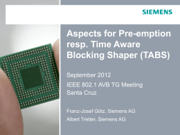 Aspects for Pre-emption resp. Time Aware Blocking Shaper (TABS) September 2012