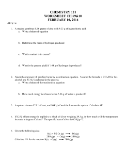 Hess' Law Worksheet 4/15