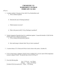 Hess' Law Worksheet 4/15