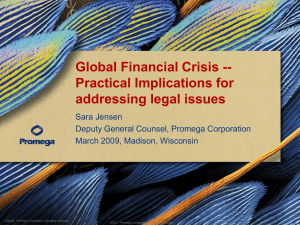 Global Financial Crisis -- Practical Implications for addressing legal issues Sara Jensen