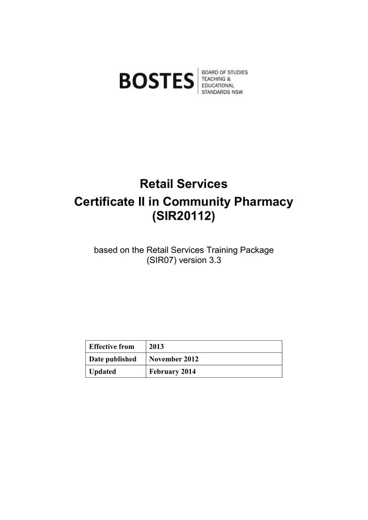 Retail Services Certificate Ii In Community Pharmacy Sir20112