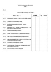 Life Skills Outcomes Worksheet Stage 5  Design and Technology (Life Skills)