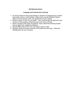 Self-Selected Article  Language and Content Area Learning