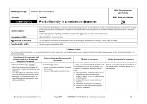 20 Work effectively in a business environment BSBIND201A HSC Requirements