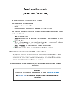 Recruitment Documents [GUIDELINES / TEMPLATE]