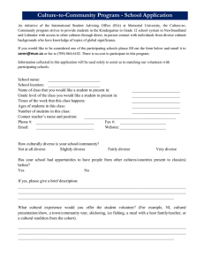 Culture-to-Community Program - School Application